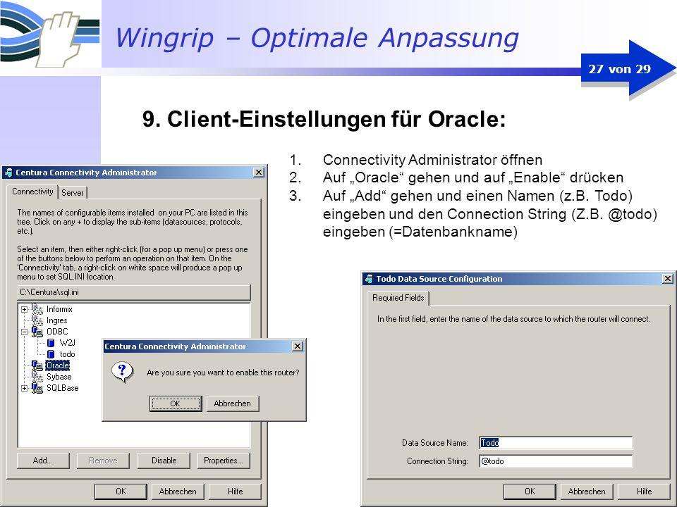 9. Client-Einstellungen für Oracle: