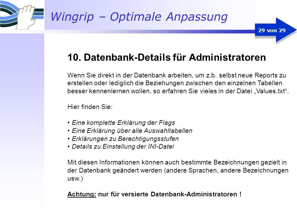 10. Datenbank-Details für Administratoren