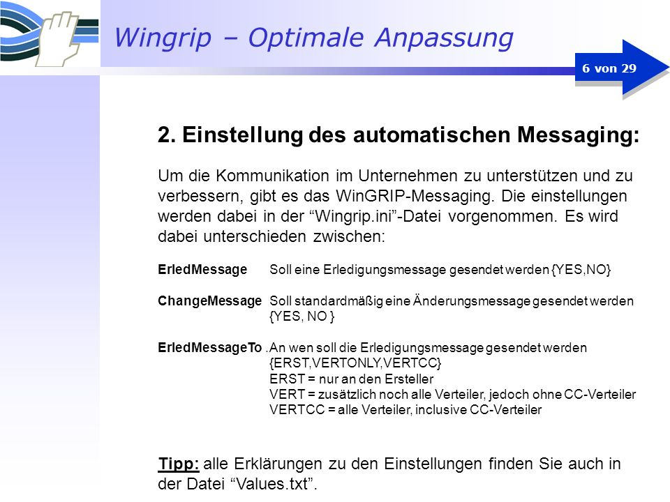2. Einstellung des automatischen Messaging: