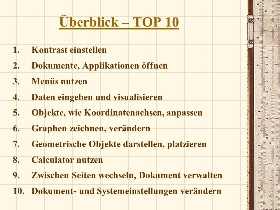 Überblick – TOP 10 Kontrast einstellen Dokumente, Applikationen öffnen