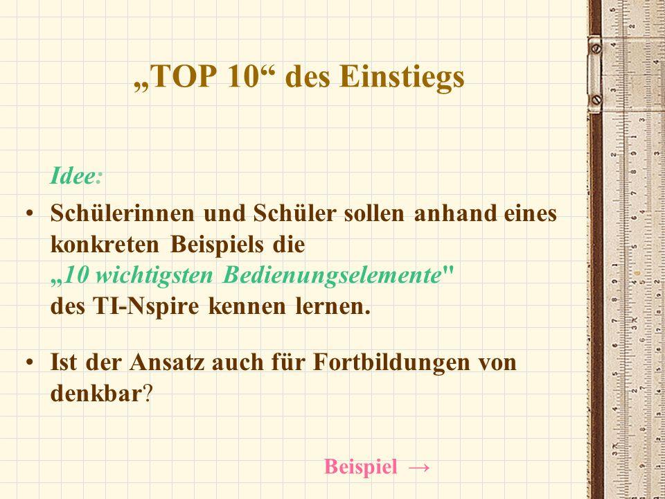 """""""TOP 10 des Einstiegs Idee:"""