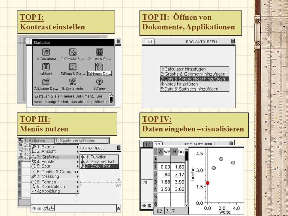TOP I: Kontrast einstellen. TOP II: Öffnen von. Dokumente, Applikationen. TOP III: Menüs nutzen.