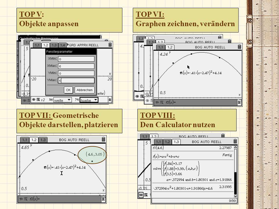 TOP V: Objekte anpassen. TOP VI: Graphen zeichnen, verändern. TOP VII: Geometrische Objekte darstellen, platzieren.