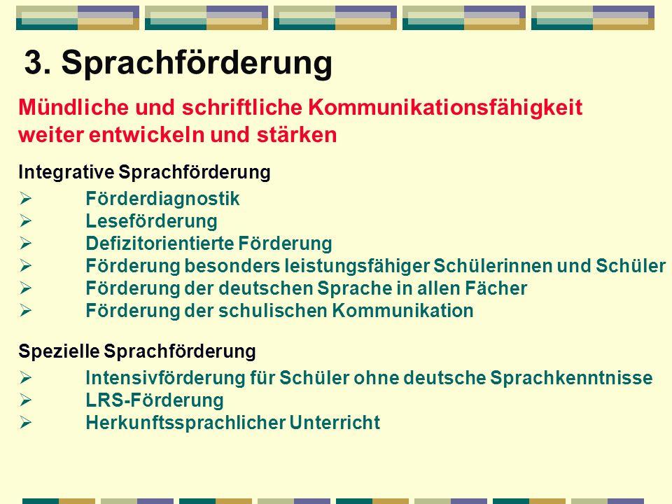 3. Sprachförderung Mündliche und schriftliche Kommunikationsfähigkeit weiter entwickeln und stärken.