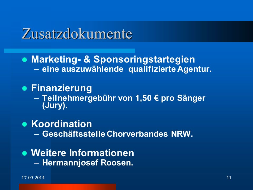 Zusatzdokumente Marketing- & Sponsoringstartegien Finanzierung