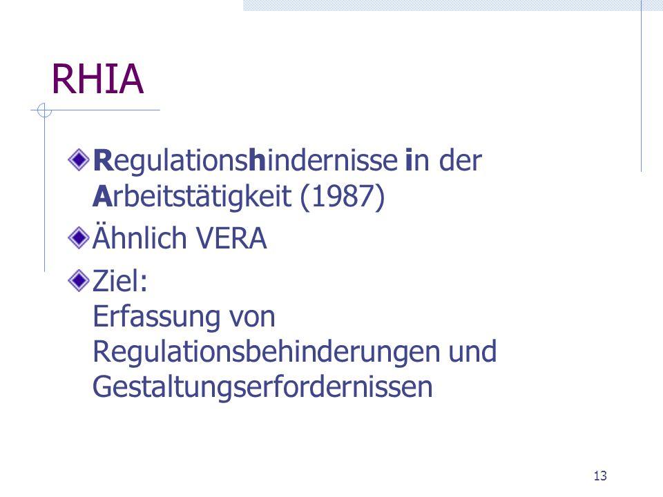 RHIA Regulationshindernisse in der Arbeitstätigkeit (1987)