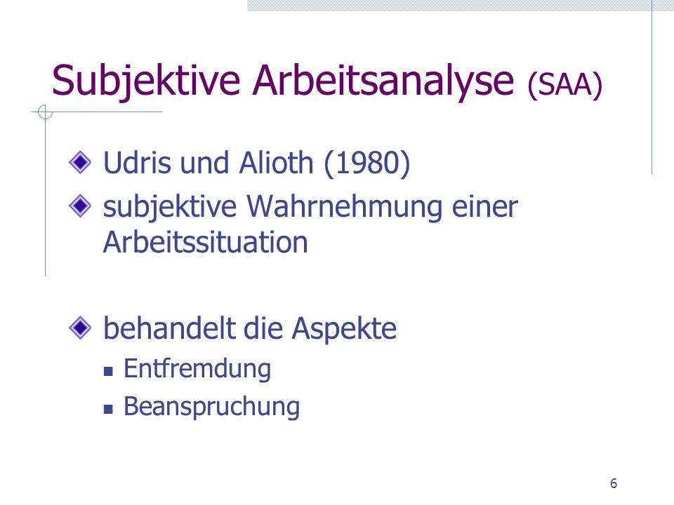 Subjektive Arbeitsanalyse (SAA)