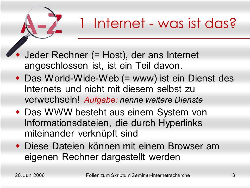 Folien zum Skriptum Seminar-Internetrecherche