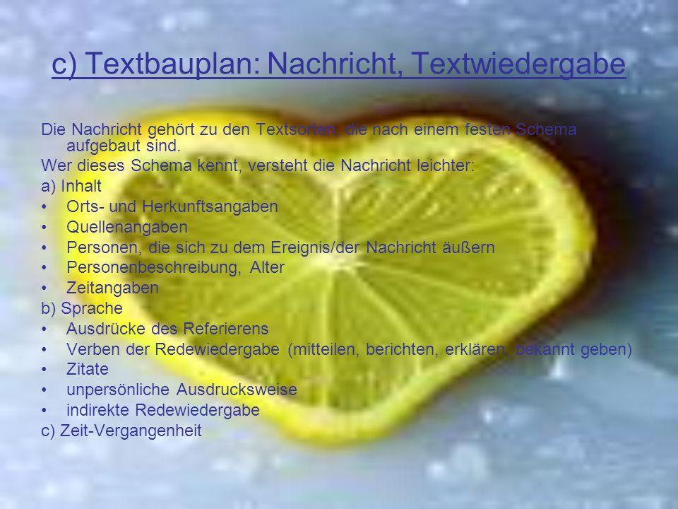 c) Textbauplan: Nachricht, Textwiedergabe