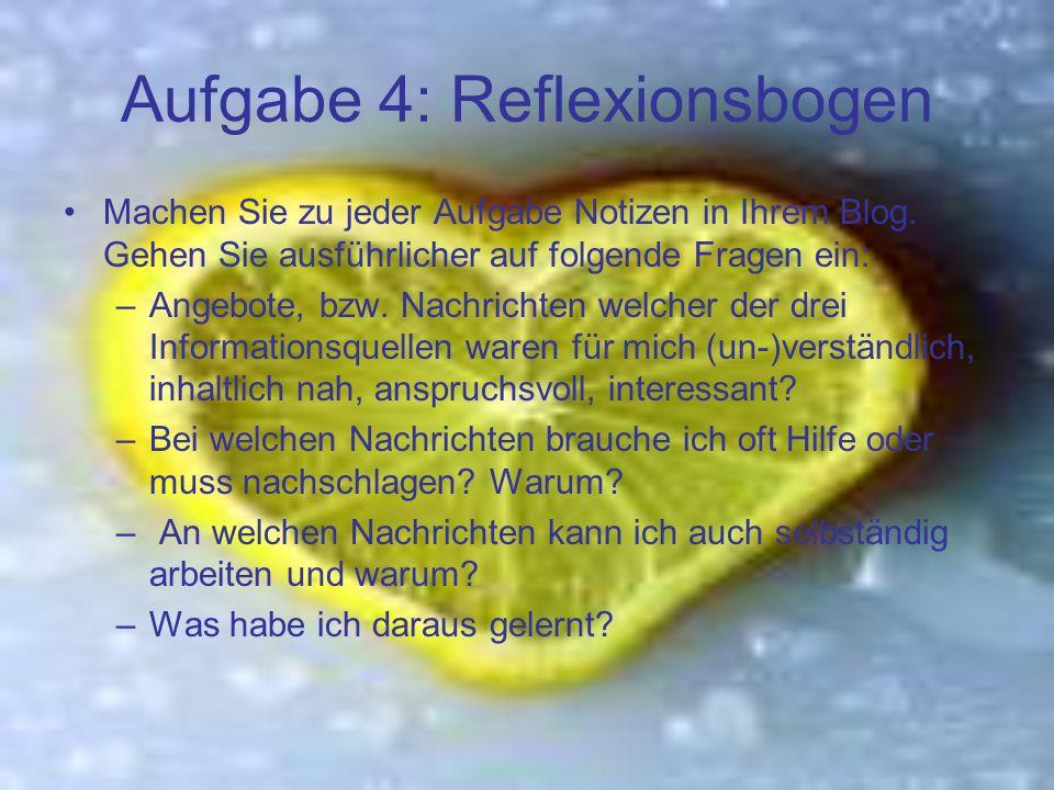 Aufgabe 4: Reflexionsbogen