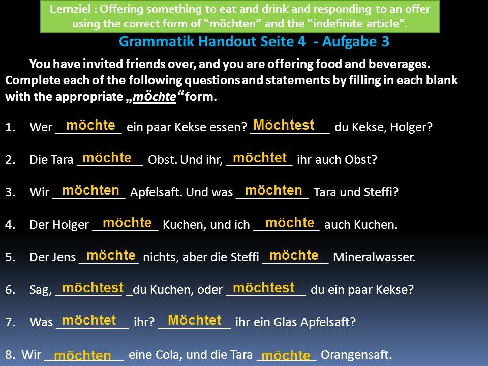 Grammatik Handout Seite 4 - Aufgabe 3