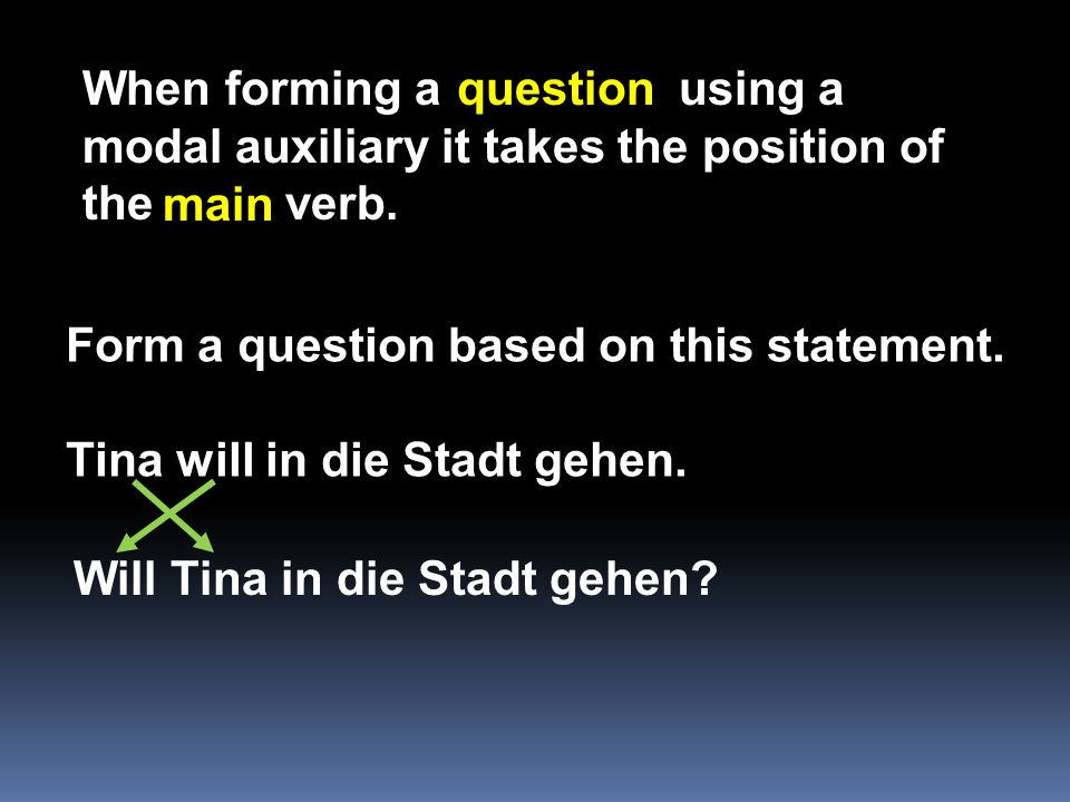 When forming a using a modal auxiliary it takes the position of the verb.