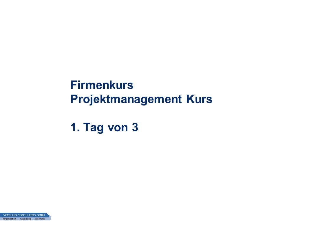 Firmenkurs Projektmanagement Kurs 1. Tag von 3