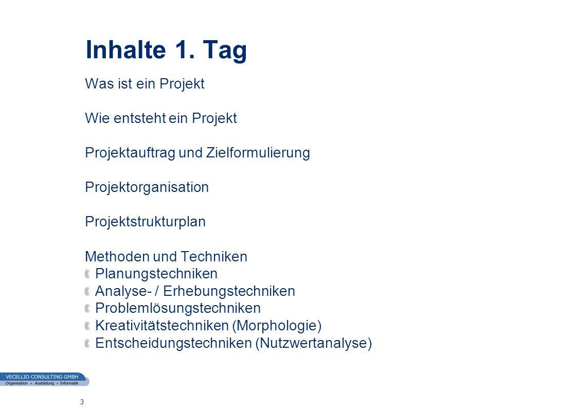 Inhalte 1. Tag Was ist ein Projekt Wie entsteht ein Projekt