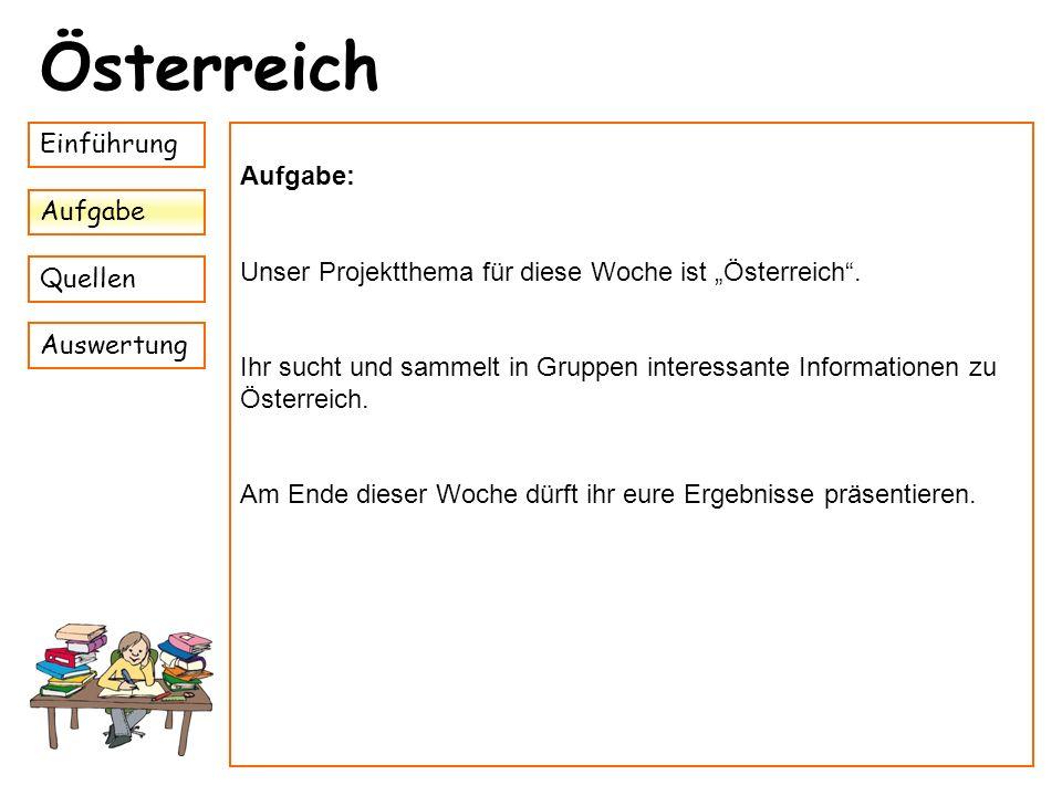 Österreich Einführung Aufgabe: