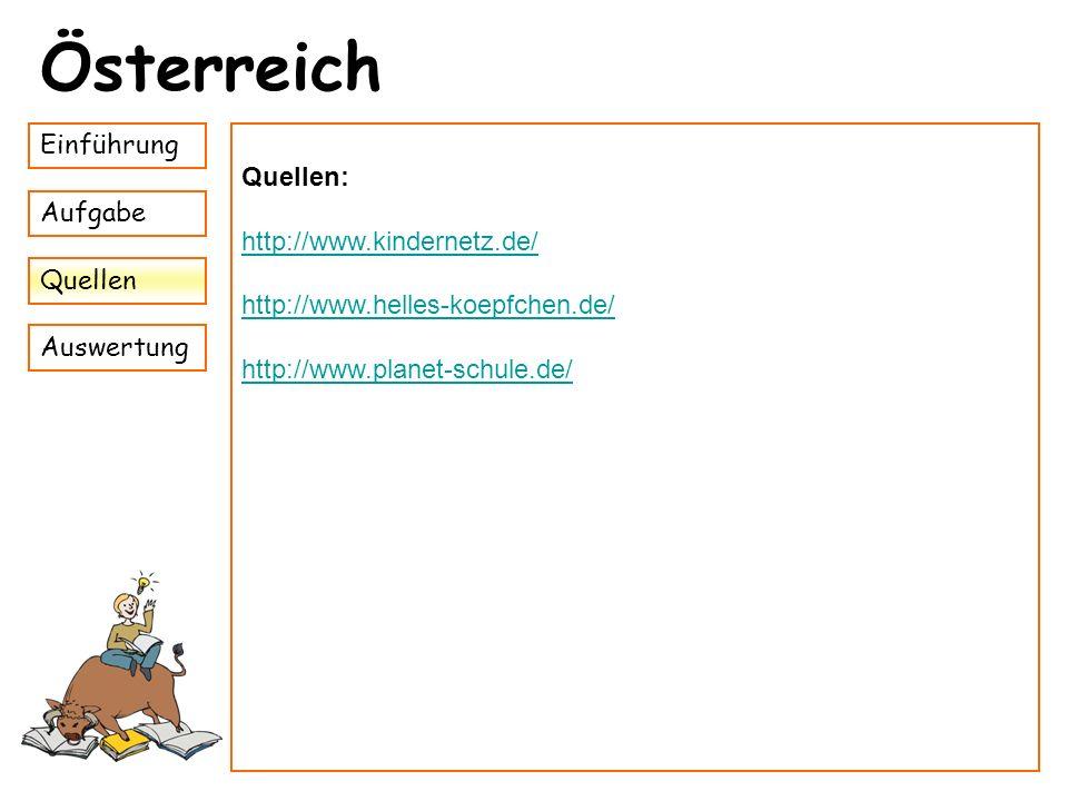 Österreich Einführung Quellen: http://www.kindernetz.de/ Aufgabe