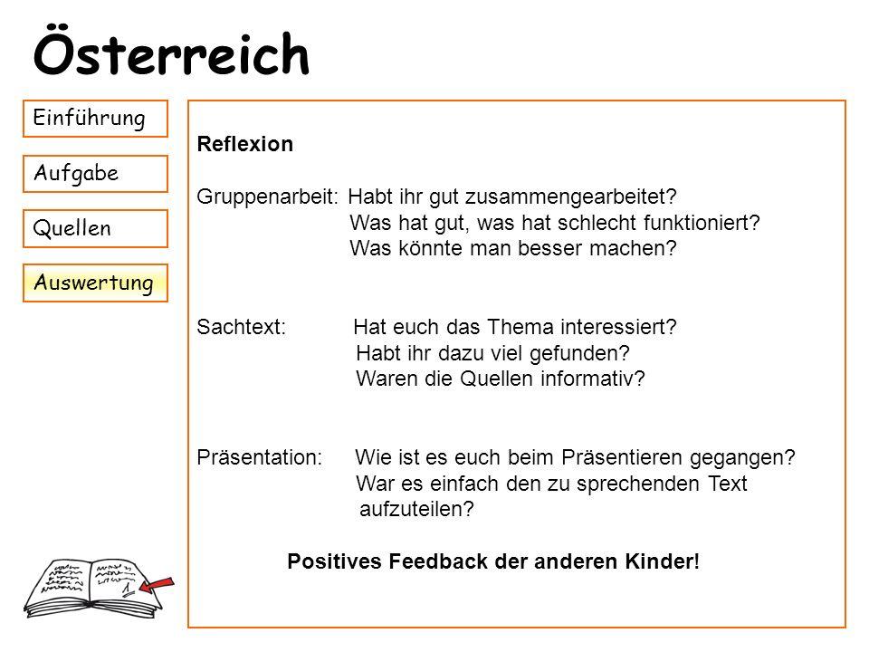 Österreich Einführung Reflexion