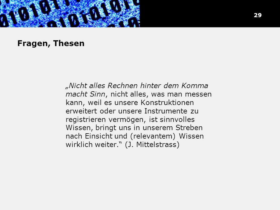 30 Fragen, Thesen.