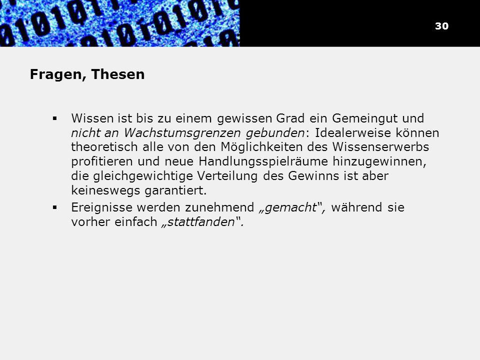 31 Fragen, Thesen.
