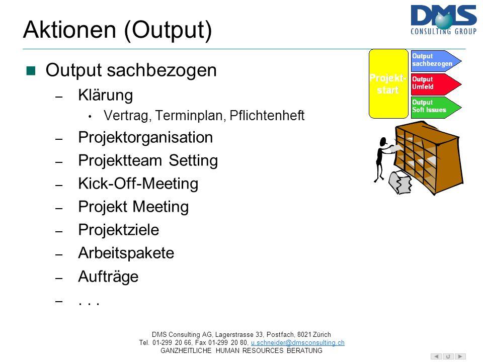 Aktionen (Output) Output sachbezogen Klärung Projektorganisation