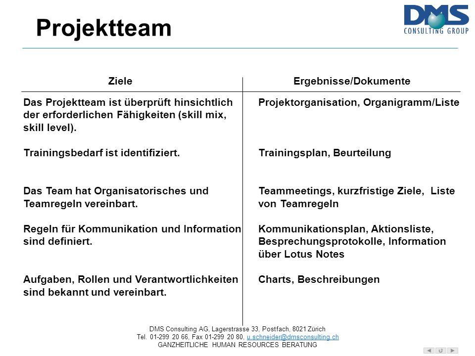 Projektteam Ziele Ergebnisse/Dokumente