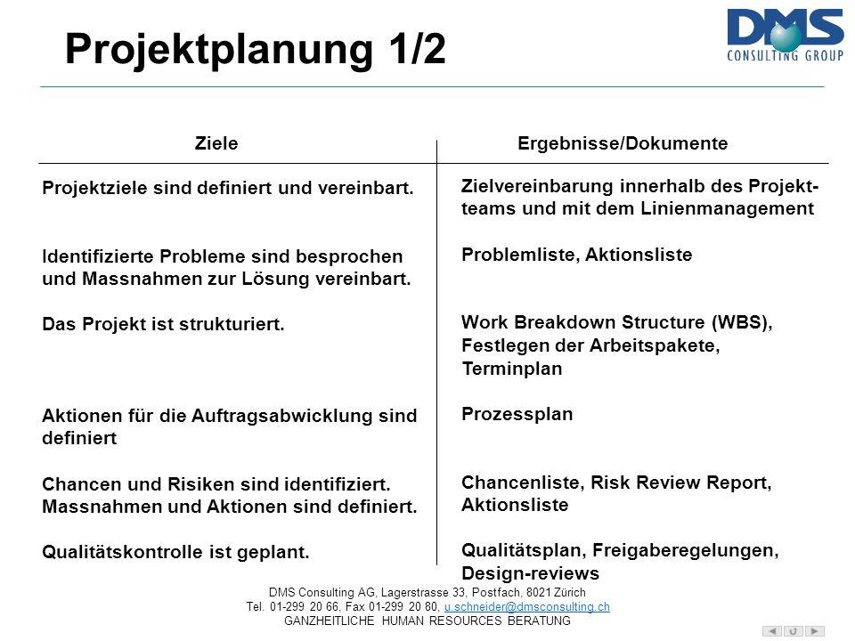Projektplanung 1/2 Ziele Ergebnisse/Dokumente