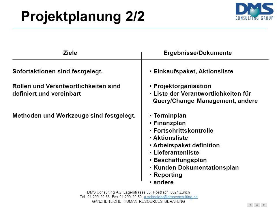 Projektplanung 2/2 Ziele Ergebnisse/Dokumente