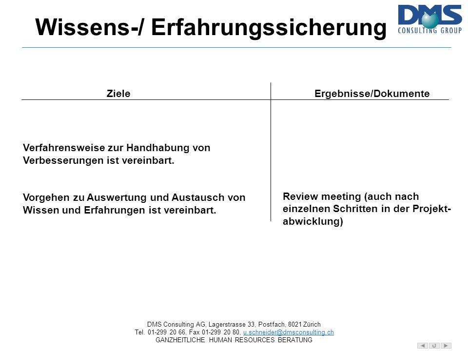 Wissens-/ Erfahrungssicherung