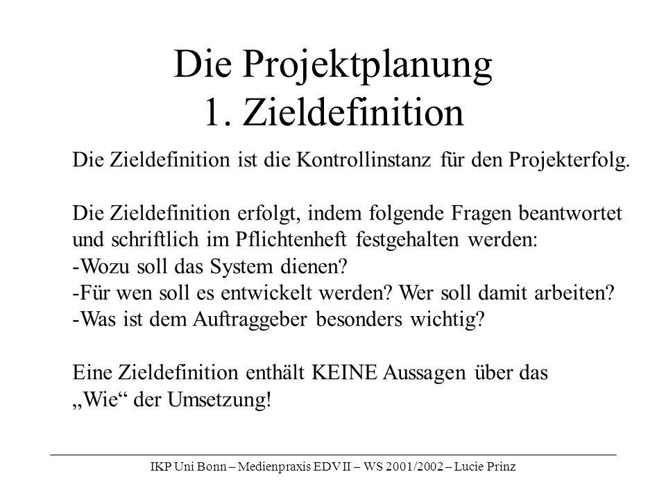Die Projektplanung 1. Zieldefinition