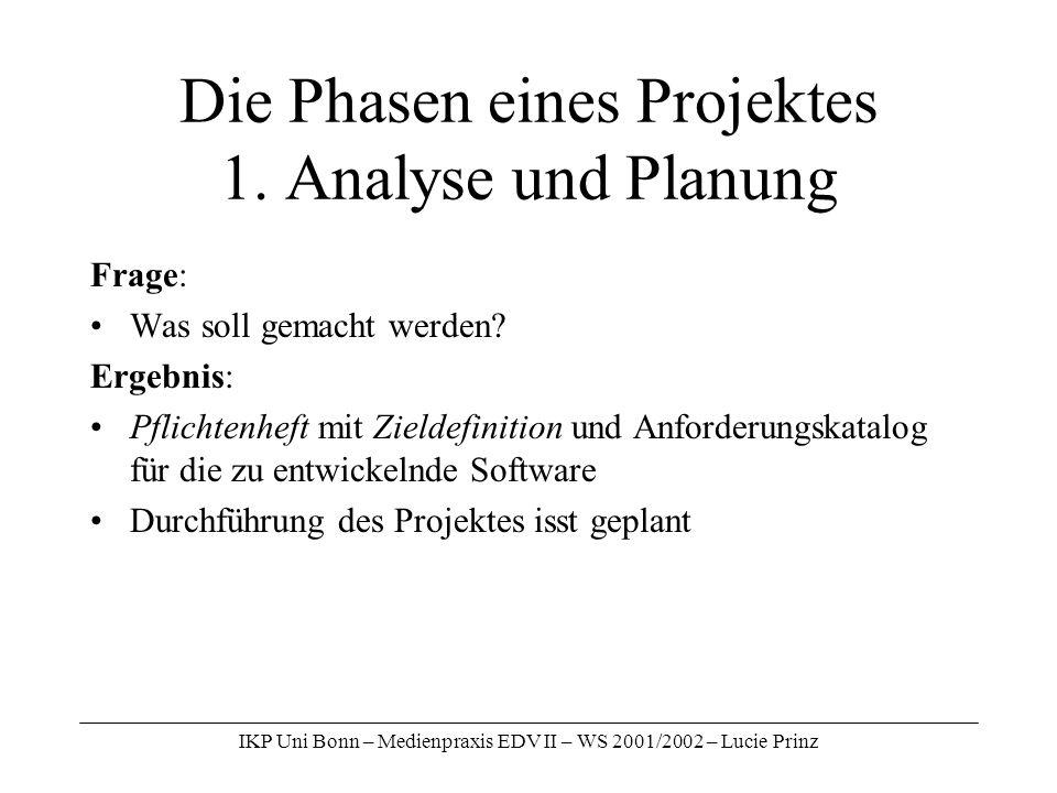 Die Phasen eines Projektes 1. Analyse und Planung