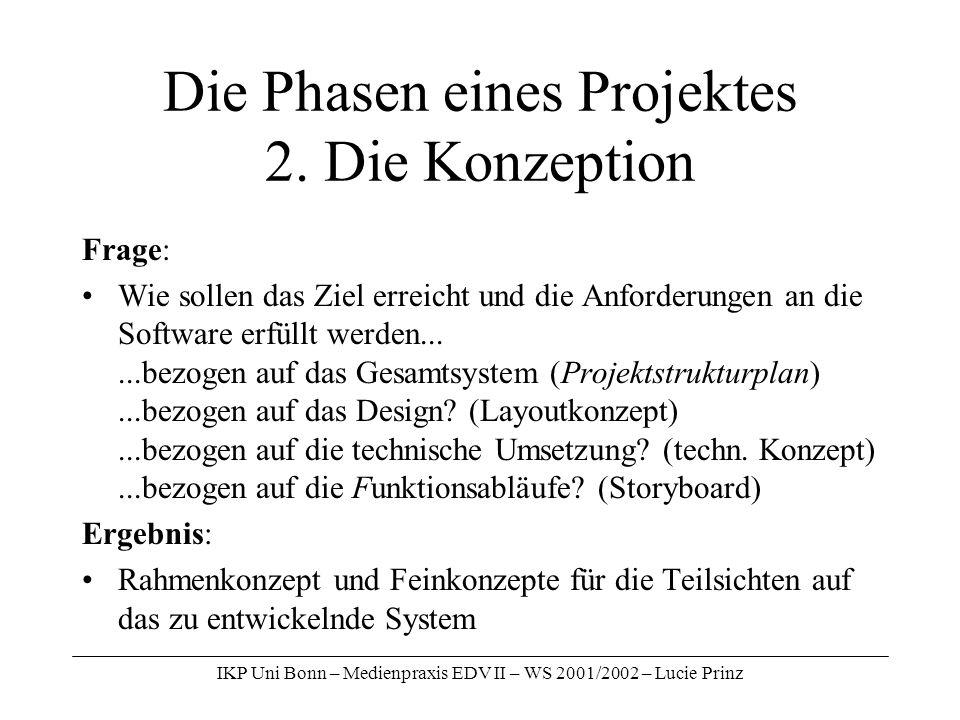 Die Phasen eines Projektes 2. Die Konzeption