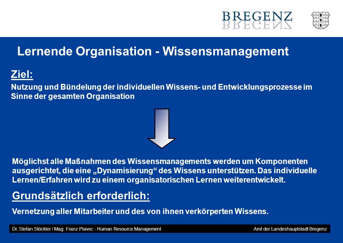Lernende Organisation - Wissensmanagement