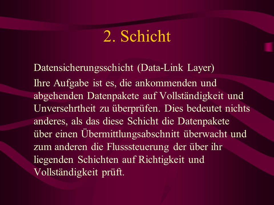 2. Schicht Datensicherungsschicht (Data-Link Layer)