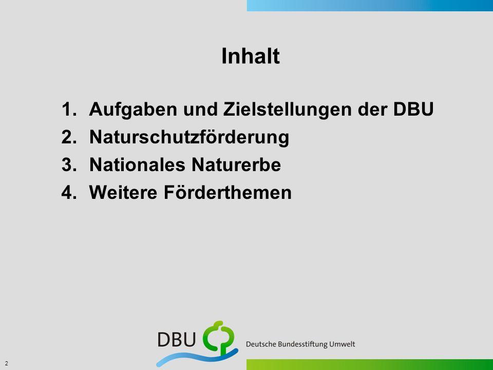 Inhalt Aufgaben und Zielstellungen der DBU Naturschutzförderung