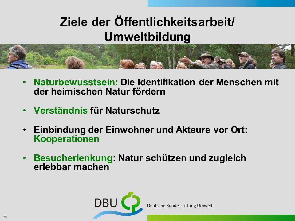 Ziele der Öffentlichkeitsarbeit/ Umweltbildung