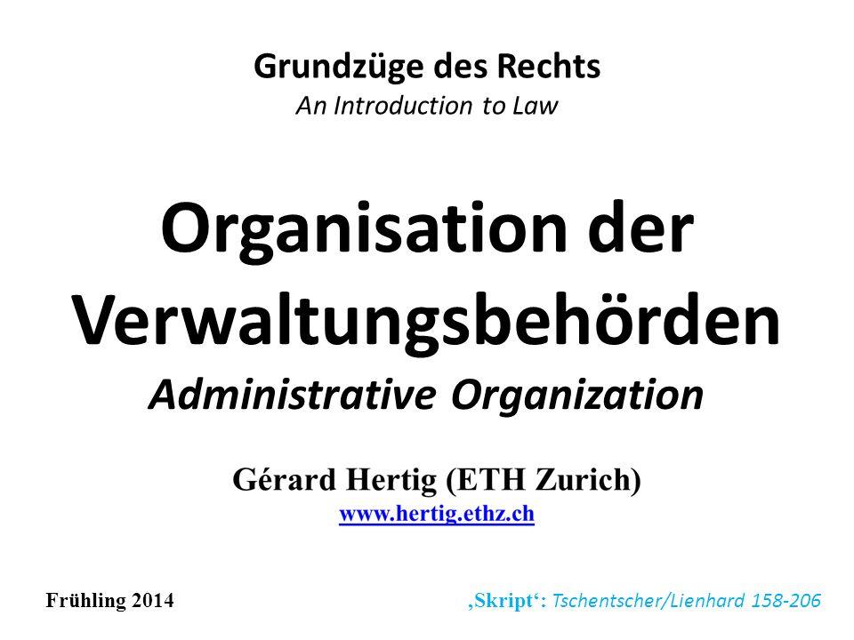 Organisation der Verwaltungsbehörden Administrative Organization