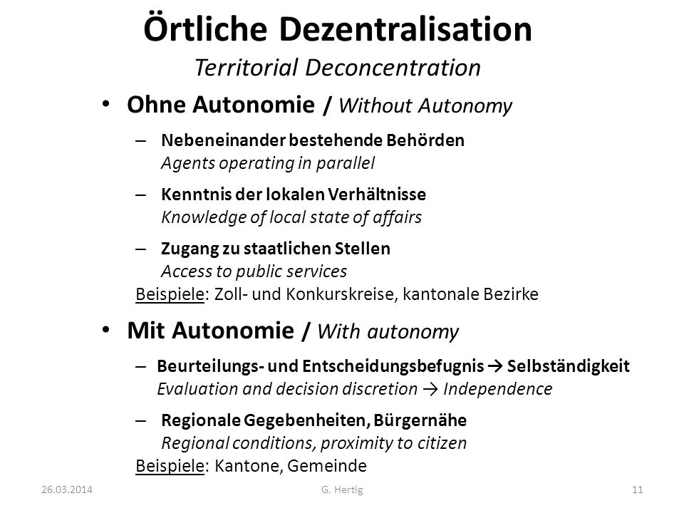 Örtliche Dezentralisation Territorial Deconcentration