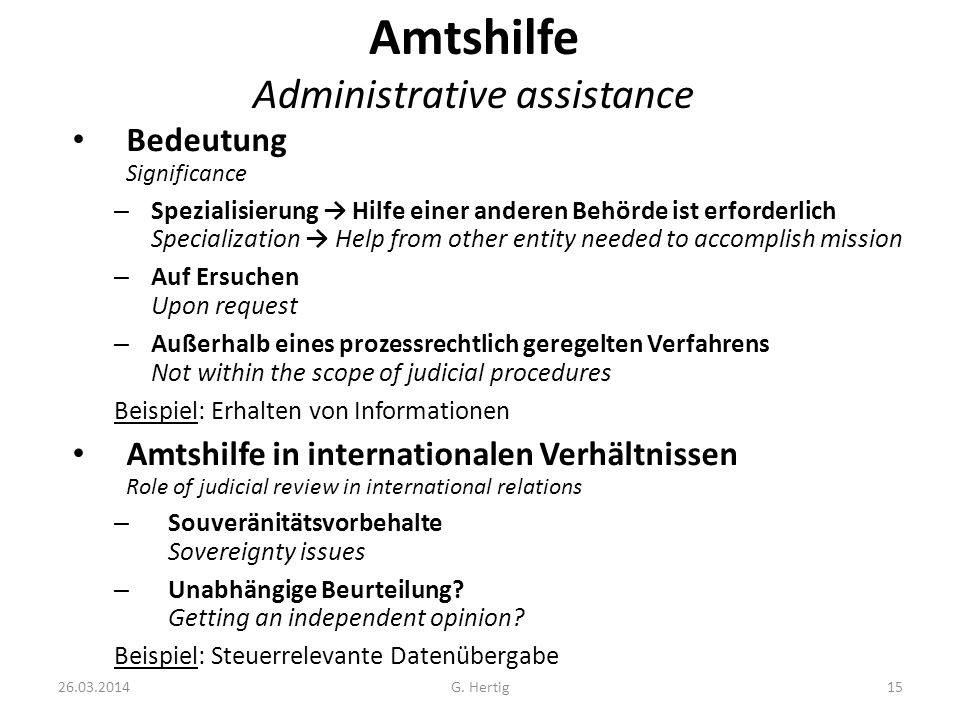 Amtshilfe Administrative assistance