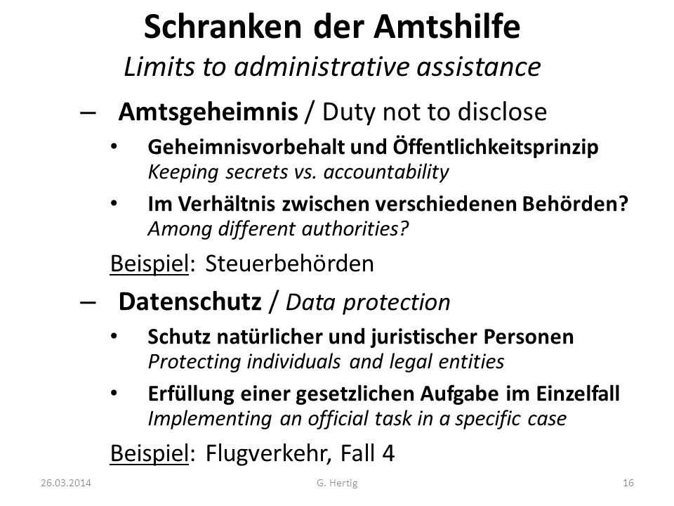 Schranken der Amtshilfe Limits to administrative assistance