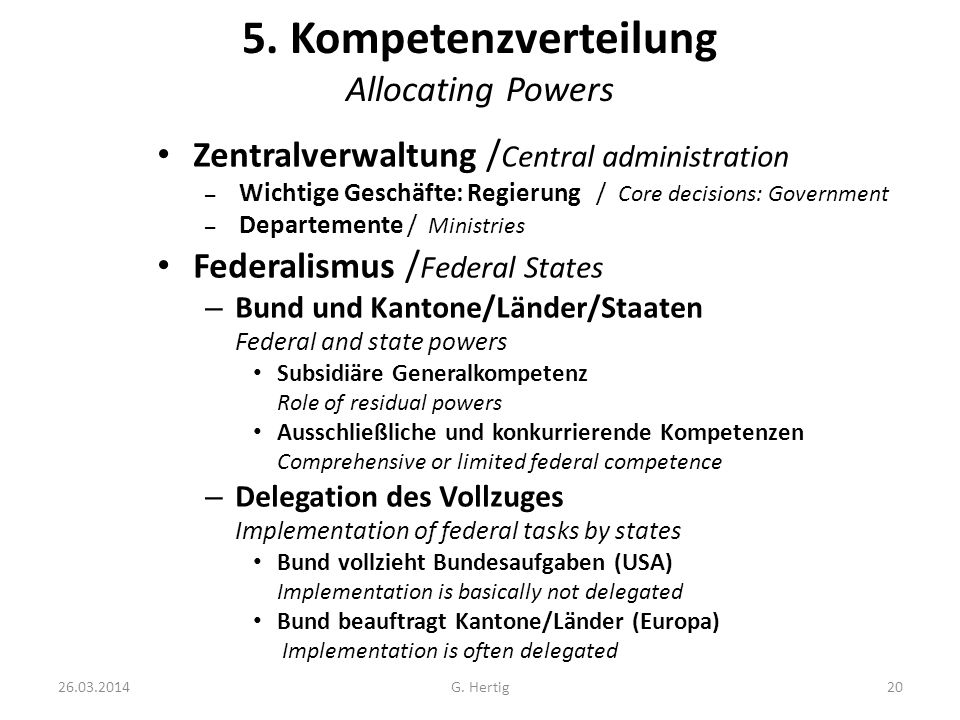 5. Kompetenzverteilung Allocating Powers