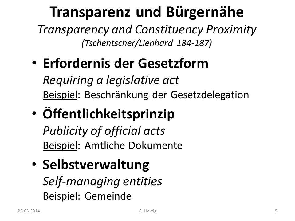 Transparenz und Bürgernähe Transparency and Constituency Proximity (Tschentscher/Lienhard 184-187)