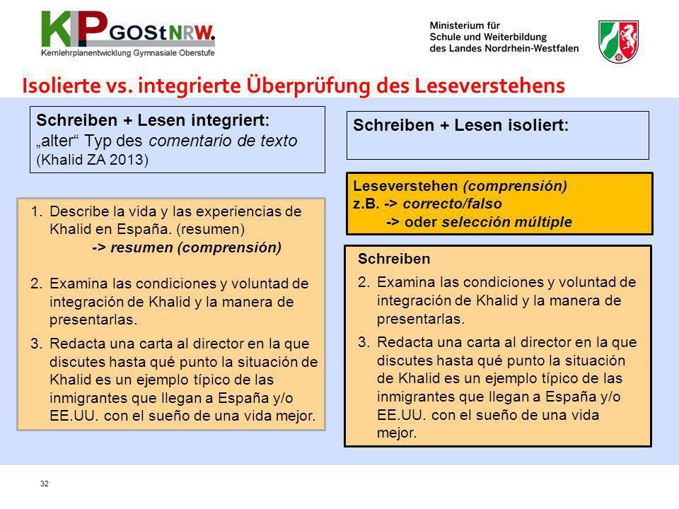 Isolierte vs. integrierte Überprüfung des Leseverstehens