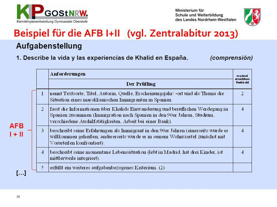 Beispiel für die AFB I+II (vgl. Zentralabitur 2013)