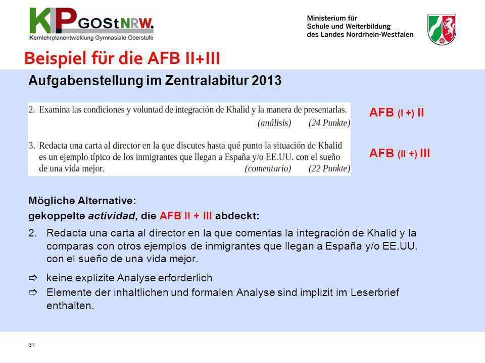 Beispiel für die AFB II+III