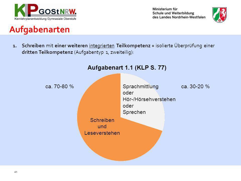 Aufgabenarten Aufgabenart 1.1 (KLP S. 77)