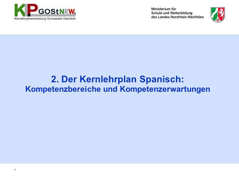 2. Der Kernlehrplan Spanisch: Kompetenzbereiche und Kompetenzerwartungen