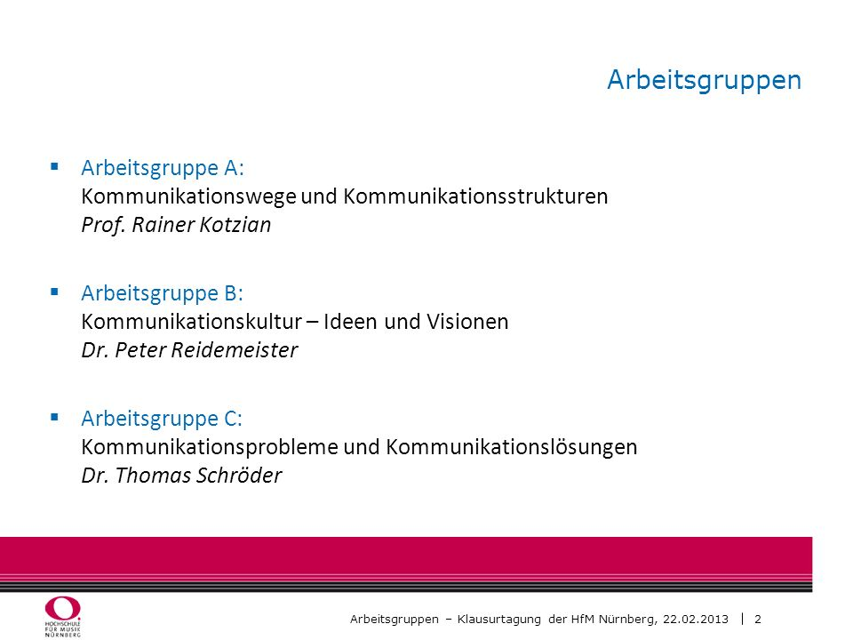 Arbeitsgruppen Arbeitsgruppe A: Kommunikationswege und Kommunikationsstrukturen Prof. Rainer Kotzian.