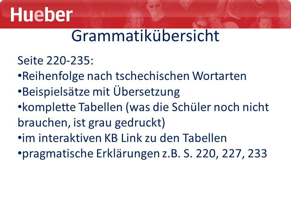 Grammatikübersicht Seite 220-235: