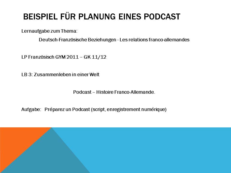 Beispiel für Planung eines Podcast