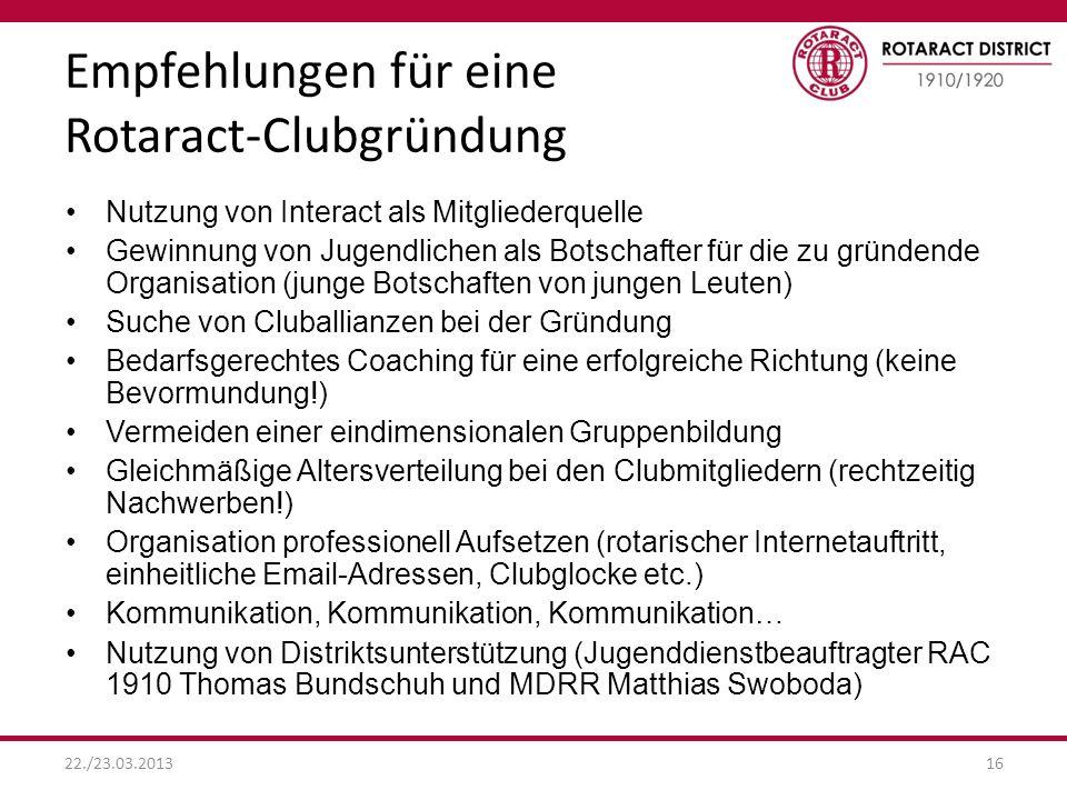 Empfehlungen für eine Rotaract-Clubgründung